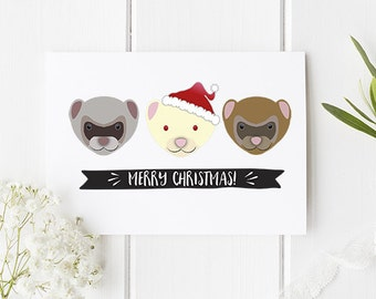 Ferret Christmas Card - Cute Christmas Card With Ferrets The Perfect Funny Card With Cute Illustrations