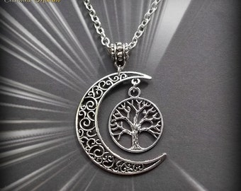 Moon Tree of Life Pendant Necklace, Pagan Necklace, Wiccan, Wicca Jewellery, Silver Moon, Crescent Moon Necklace, Antiqued Silver, Spiritual