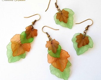 Woodland Leaves Earrings, Ivy Leaf Earrings, Elfin Leaf, Elven Jewellery, Elf, Forest Fairy, Tree, Autumn, Pagan, Nature Spirit, Lucite