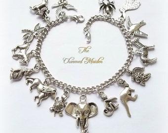 Animal Charm Bracelet, Silver Charm Bracelet, Animal Bracelet, Boho Bracelet, Animal Charms, Vet, Zoo, Monkey, Elephant, Lion, Horse, Wolf
