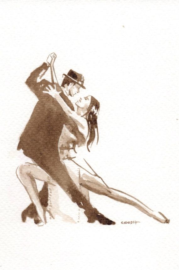 cadeau amour couple dansant le tango dessin unique encre. Black Bedroom Furniture Sets. Home Design Ideas