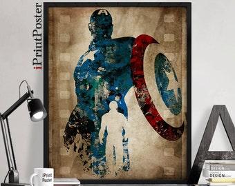 Captain America, print, Marvel, poster, Avengers print, comic, artwork, abstract, wall art, gift, hero art print, Home Decor, iPrintPoster.