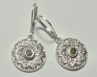 Ornate Fine Silver and Green Crystal Chrysanthemum Earrings