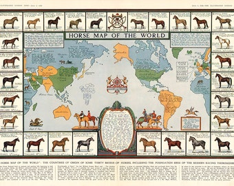 "Horse Map of The World 1936 Giclee Fine Art Print 18""x 26"""