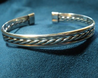 Sterling Silver Tri-Band Mid-Band 3-Wire Braided Cuff Bracelet