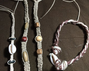 4 Handmade Hemp Bracelets (Wooden pieces and Shells attached)