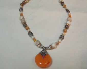 Hand made one of a kind Necklace  Butter Jade