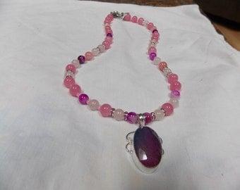 Hand made one of a kind Beaded  Necklace w/Natural Solar Quartz,Tourmaline