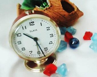 Vintage Alarm Clock ,Soviet Clock, Russian Clock , Mechanical Clock , Red Retro clock , Slava,Vintage Russian Alarm Clock Soviet SLAVA, USSR