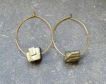 Pyrite Earrings,  Gemstone Earrings, Gold Hoop Earrings, Boho Earrings, Pyrite Gold Earrings,Mineral Earrings, Raw Mineral Earrings, Drop