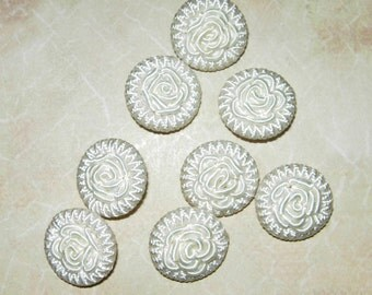 Set Of 8 White Cloth Buttons With Rose Pattern, 1/2""