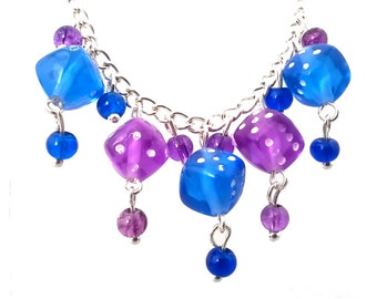 Blue & Purple Dangle Dice Necklace Geeky Alternative Gift for Her D6