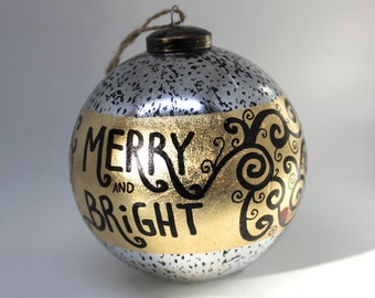 Merry and Bright Ornament, black swirls, ladybugs