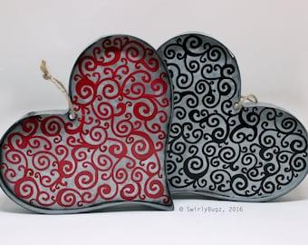 Tin Swirly Heart, Valentine's Day, love, hand painted