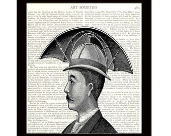 Steampunk Art, Victorian Inventor, Umbrella Hat, Dictionary Art Print, 8 x 10 Black and White Illustration, Unframed - Item 343