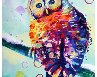 "Rainbow Owl - Original colorful traditional acrylic painting on paper 8.5""x11"""