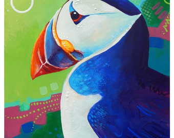 "Puffin - Original colorful traditional acrylic painting on paper 8.5""x11"""