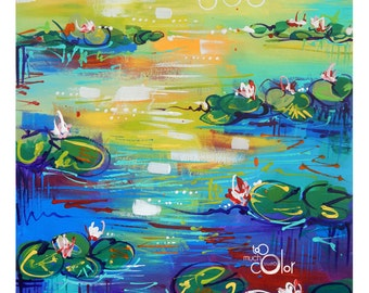 """Colorful Waterlilies 2 - 11""""x14"""" Original traditional acrylic painting on paper"""