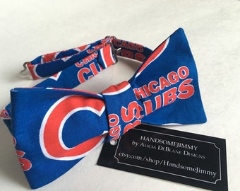 Men's  Bow Tie - Chicago Cubs Bow Tie - MLB - Baseball - Freestyle Bow Tie - Handcrafted - Tied or Untied