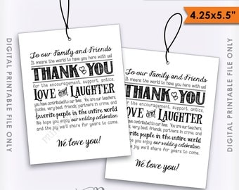 Thank You Tags, Wedding Tags, Welcome Bag Tags, Out of Town Guests Destination Wedding, Wedding Thank You Instant Download Digital Printable