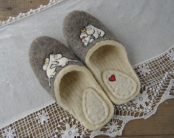 Eco friendly handmade felted slippers. Slippers for home use with a picture on motives of the cartoon