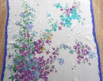 ERRE Scarf, Silk Scarf, Floral Motives,  Botanical Pattern Scarf, Vintage Scarf