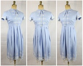 Vintage Original 1940's Pale Blue Linen Dress With White Floral Embroidery true vintage floral ww2 pinup lindy