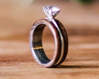 Womens Wedding Band: Silver Ring Inlayed in Walnut With Round CZ Diamond Setting. Stag Hound, Elk Head Design