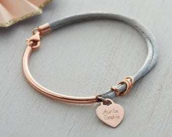 Personalised Silk And Rose Gold Charm Bangle (HBB42)