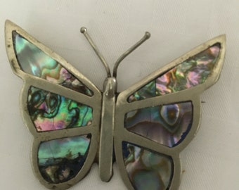 Mexican sterling silver abalone gym and lay iridescent butterfly pin brooch marked