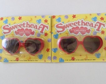 Girl's Red Heart Sunglasses, Vintage