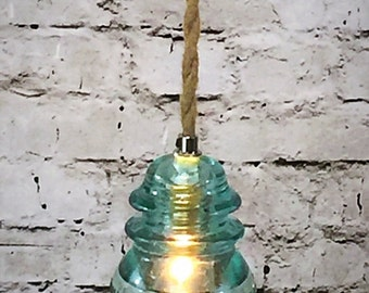 Glass Insulator Light - Insulator Pendant Light - Icy Blue & Rope Pendant Light