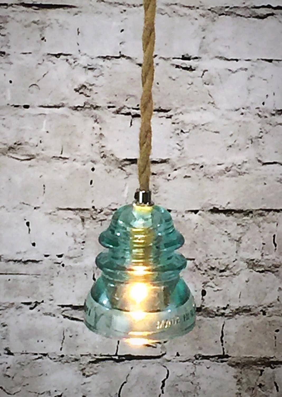 Glass insulator light insulator pendant light icy blue for Insulator pendant light
