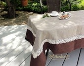 Natural linen jacquard tablecloth Linen tablecloth Cotton lace edge Natural organic eco Prewashed and softened table cloth Pure, brown linen
