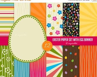 80% OFF Easter Paper Set, Backgrounds, Digital, Egg Banner