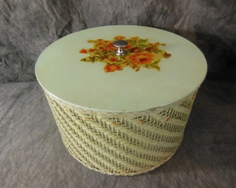 Vintage Harvey Sewing Basket - MidCentury - Sage Green
