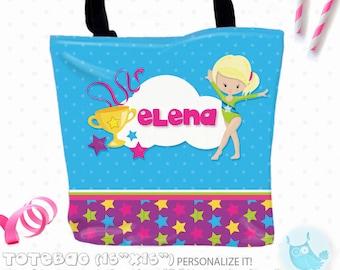 SALE gymnastic Personalized Tote Bags, custom Tote bag, kids tote, school tote, kindergarten tote, beach tote bag, Tote Bags TB135