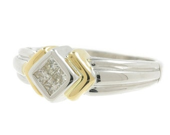 Mega Sale Vintage Classic Estate 14K White & Yellow Gold Ladies Diamond Ring - 0.40CTW