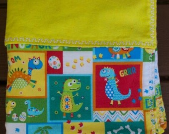 Lined Flannel Yellow Dinosaur Baby Receiving Blanket