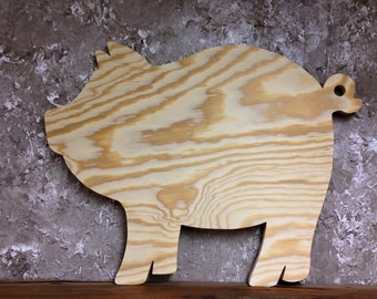 PWP Unfinished Ready To Paint Wood Pig Cutout Handcrafted From BC Pine Plywood Exterior 3 Sizes
