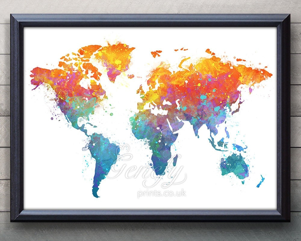 world map watercolor art poster print wall decor. Black Bedroom Furniture Sets. Home Design Ideas