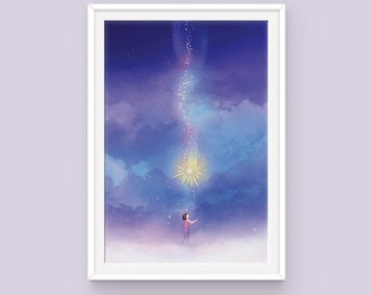 """Studio Ghibli Howl's Moving Castle Poster: Falling Star, Young Howl, Calcifer, Hayao Miyazaki, Howl Poster, Calcifer and Howl, 11"""" x 17"""""""