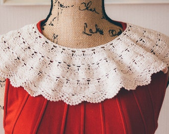 Peter Pan Collar crochet lace vintage 60s accessory knit detachable ivory dress boho mod