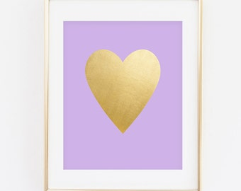 Gold Foil Heart Purple Lavender Background Heart Digital Printable Wall Decor- Instant Download