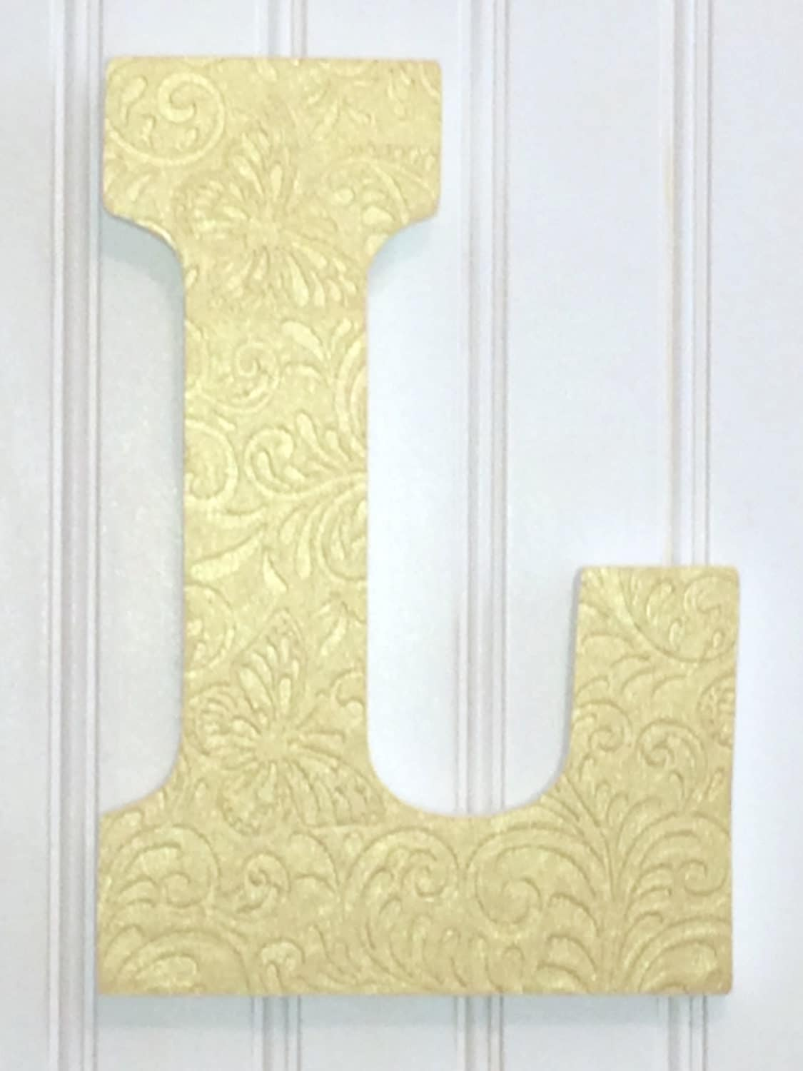 Gold 9 letter l letter wall art hanging by betterletterdesigns for Gold wall decor letters