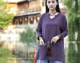 Womens Autumn Asymmetric Hem Long Sleeve Cotton Linen Blouses, Womans Autumn Cotton Linen T Shirts, Tops For Women, Purple Blouses
