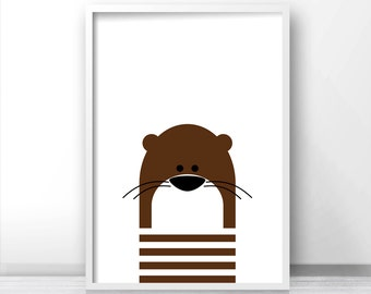Digital Download Nursery Print, Otter Nursery Wall Art, Kids Art Print, Instant Download Printable Nursery Art, Kids Wall Art, Animal Print