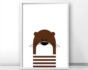 Digital Download Nursery Print, Otter Nursery Wall Art, Kids Art Print, Instant Download Printable Nursery Art, Kids Wall Art, Animal Print