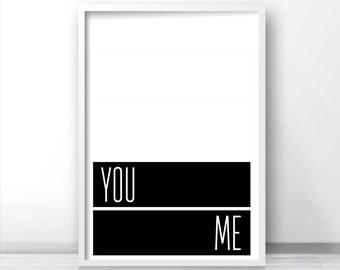 Instant Download Printable Art You Me, Black White Print, Digital Download Print, Modern Minimalist Art, Printable Wall Art, Bedroom Print