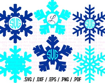 Winter Snowflake Clipart, Snowflake Monogram Frame, Snowflake SVG File for Vinyl Cutter, Screen Printing, Silhouette Die Cut Machine - CA164